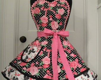 Womens Apron-Ribbons and Roses Valentines Flounce Apron