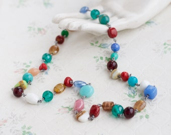 Colorful Glass Beads Necklace - Vintage Summer Jewelry