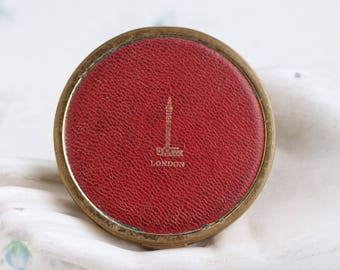 London Compact Mirror and Powder Case - Red Leather and Brass - Vintage Make Up