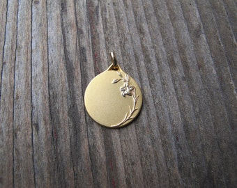 Antique Gold Plate Lily Pendant