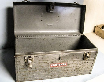 CRAFTSMAN TOOL BOX,Shabby and Worn, Metal Tool Box, Tackle Box, Tote, Carrier, Industrial Decor, Metal Strong Box, Lockable Box, Storage Box