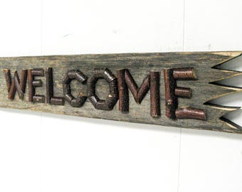 RUSTIC WELCOME SIGN - Twig Letters Mounted on Rustic Weathered Board, Custom Signs Made For You, Convo Your Wishes For A Price Quote