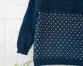 Knitting pattern for the SNOWFALL SWEATER