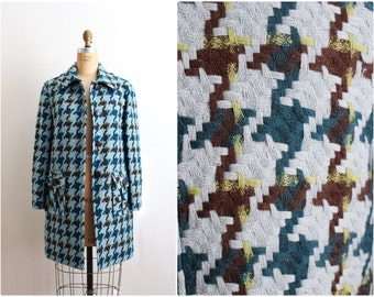 80s Tweed Turquoise Coat / Anne Klain Coat/ Wool Coat / Size S/M