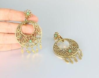 Flower Hoop Earrings, Filigree Dangle Gipsy Hoops signed Art, Turquoise Beads vintage 1960s jewelry