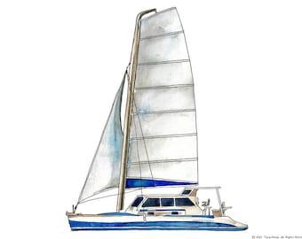 """Catamaran Sail Boat watercolor print, 8x10"""""""