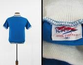 Vintage 1960s Reis Ringer T-shirt Blue All Cotton Retro Sportswear - Small