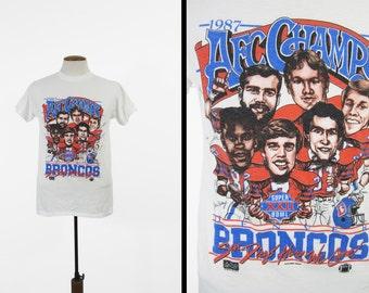 Vintage 1987 Superbowl T-shirt Denver Broncos Caricature Cartoon Big Head Tee - Medium