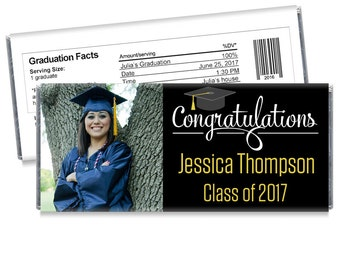 Set of 12 - Class of 2017 Graduation Candy Bar Wrappers with Photo - Great Photo Graduation Favors