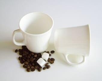 Vintage, Corning Mugs, Coffee Cup, Set of 2, Corningware, White Glass, Plain White, Simple, Minimal