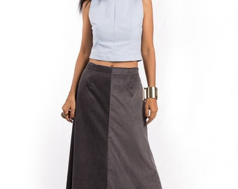 Maxi Skirt, Grey skirt, Corduroy skirt, long skirt, floor length skirt : Feel Good Collection No. 4