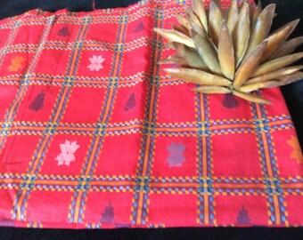 Vintage Red Cotton Fabric Woven Pattern Design, Vintage Textiles, Vintage Material