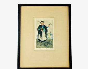 """Antique May Gearhart Signed Drypoint and Color Aquatint """"Flower Vendor"""""""