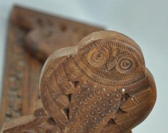 Vintage owl bookend, carved wood sliding bookshelf