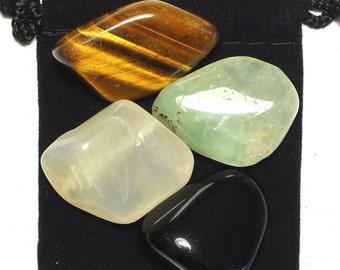 MANIFESTATION Tumbled Crystal Healing Set - 4 Gemstones w/Description & Pouch - Black Obsidian, Moonstone, Prehnite, and Tiger's Eye