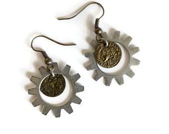 Steampunk Industrial Neo-Victorian Repurposed Handmade Ooak Reproduction Coin Earrings