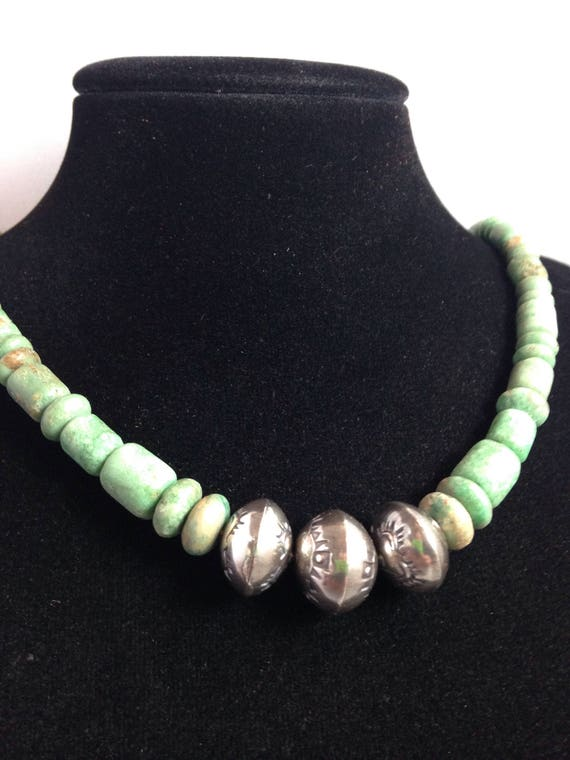 Handmade, Southwestern, Green Utah Variscite Beads, Sterling Silver Beads, Saddle Brown Leather Necklace