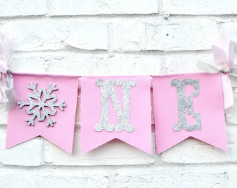 Winter Onederland Banner - 1st Birthday banner - Snowflake Birthday - winter onederland party - snowflake banner - girl winter onederland