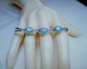 Crystal and Sky Blue Triple Pearl Bracelet