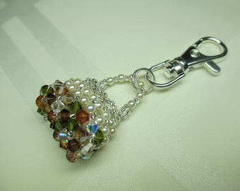 Crystal Purse Charm or Zipper Pull in Neutrals