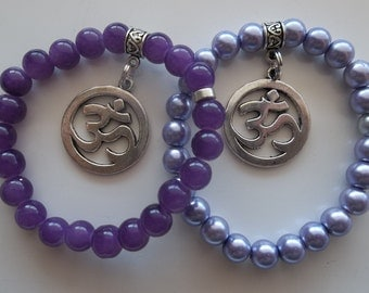 Set of Two Om Charm Large with Purple Pearls-Lovely-Beaded Stretch Bracelet  (144)