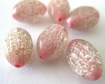 Vintage Pink Metallic Silver Beads E287