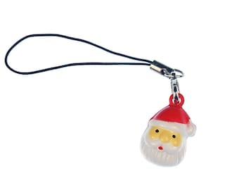 Santa Claus head Mobile phone charm pendant Miniblings Santa Christmas
