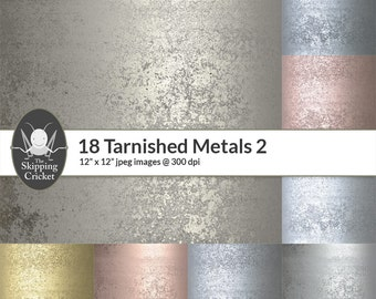18 tarnished metal papers, dirty metal textures, grunge metal backgrounds,steam punk,platinum,silver,cobalt,iron,aluminium INSTANT DOWNLOAD