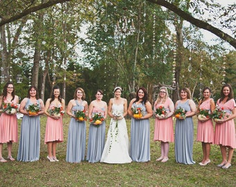 RESERVED for Michele Drozd Bridal Party -  5 Custom Princess Infinity Gowns w/Reversible Straps