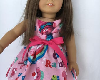 18 inch doll dress made of pink Trolls cupcakes and rainbows fabric, made to fit 18 inch dolls such as American Girl dolls and others