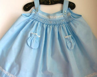 Infant Baby Girls Sundress by Baby Togs - Size 3 to 6 Months - Blue Smocked Top Lace Trim - Summer Fashions - Vintage Shabby Chic Baby