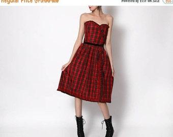HUGE SALE Vintage Plaid Red Black Taffeta Dress - medium
