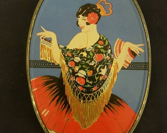 1920's Lolly Tin..Fringed Shawl