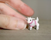 OOAK Tiny clay goat with sweater - miniature baby goat figurine