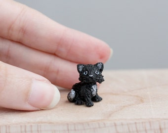 Tiny miniature black kitten - OOAK