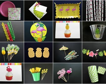 Tropical Flamingo/Pineapple Party Box  Everything you need to get your party started!