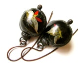 Don't Let Anybody Tell You Different - rustic vintage soldered black red gold moth butterfly Chinese tin hollow bauble black metal earrings
