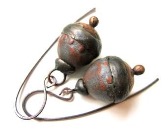 Doggerel - primitive modern artifact dark blue terracotta ceramic art bead, hollow textured copper, soldered black metal bauble earrings