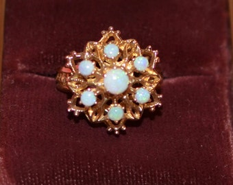 Ladies 14K Yellow Gold Fire Opal Ring Size 7.5