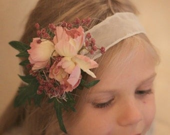 Tie Back floral headband, little girl floral headband
