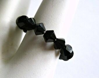 Black Swarovski crystal adjustable ring on memory wire, statement ring