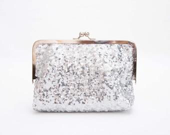 Clutch ,evening clutch ,frame purse clutch silver seqiune sparkling purse clutch with  lace  ,bridesmaid gift,SILVER FRAME purse