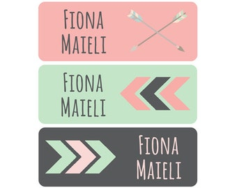 Name Labels, Girl, Dishwasher Safe, Daycare Labels, Baby Bottle Labels, School Name Labels, Waterproof Name Labels, Tribal Arrows Pink Mint