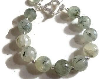 Prehnite Bracelet - Green Bracelet - Sterling Silver Jewellery - Gemstone Jewelry - Charm - Chunky - Fashion
