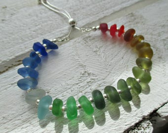 Sterling Silver Rainbow Sea Glass  Bracelet