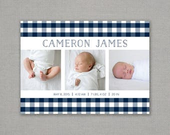 birth announcement // plaid // modern // baby // boy // buffalo check // navy