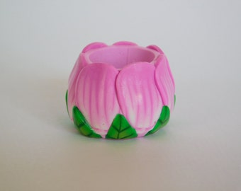 Pink Flower Dread Bead with 11 mm bead hole, polymer clay bead