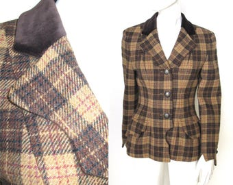 Gorgeous Vintage Moschino Cheap and Chic Brown Plaid Blazer with Velvet Collar and Unique Wavy Edges
