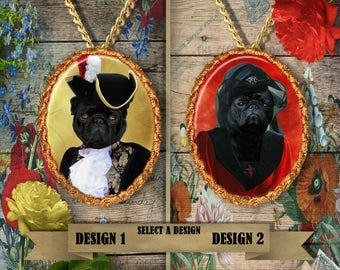Pug Jewelry Pug Pendant Pug Charm Pug Portrait Custom Dog Jewelry Nobility Dog Porcelain Jewelry Pug Lover Gift Black Pug Dog Funny Pug Art