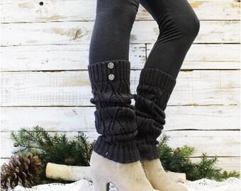 Leg WARMERS WINTER in Charcoal Grey crochet knit leg warmers womens open knit pattern for boots by Catherine Cole Studio legwarmers LW18